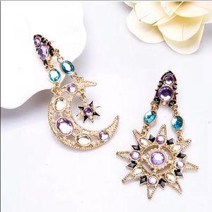 Festival Boho Sun Moon Stars blue purple earrings